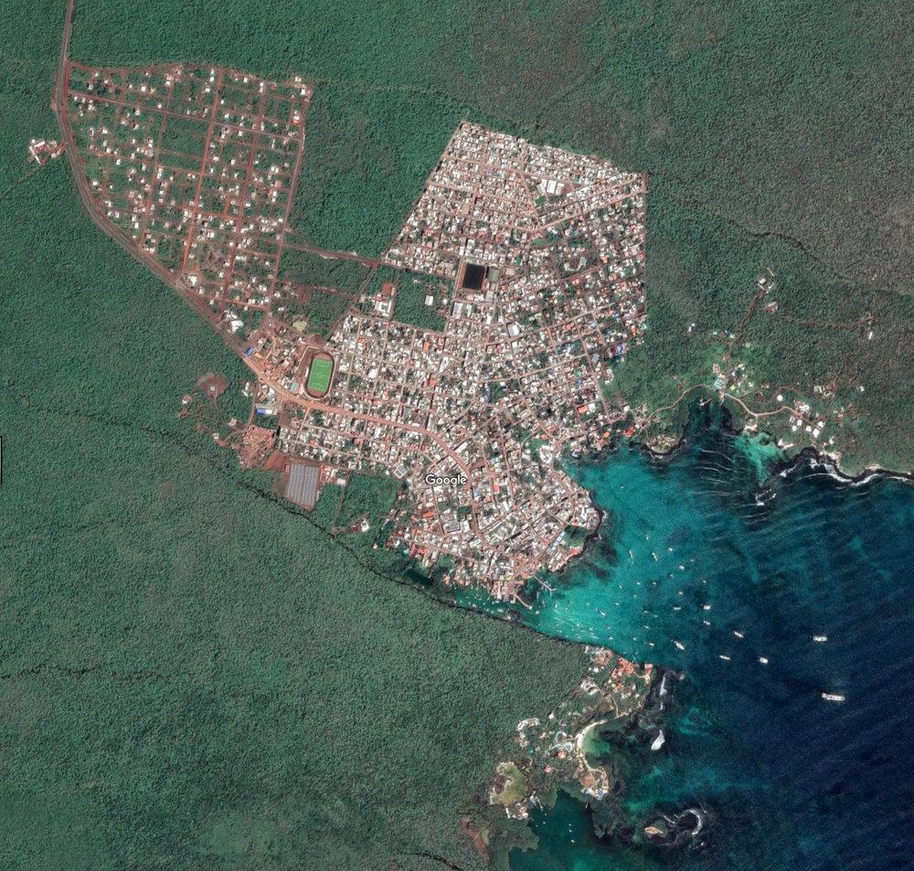 Puerto Ayora, Santa Cruz island, Galápagos (Imagery @2019 CNES / Airbus, Map data @2019 Google)