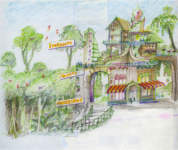 Layering, ecological and urban (drawing by Richard Register)