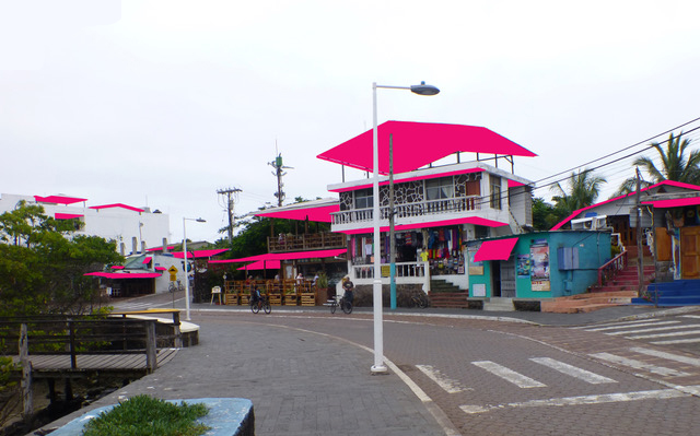 Shade structures (highlighted), Puerto Ayora.
