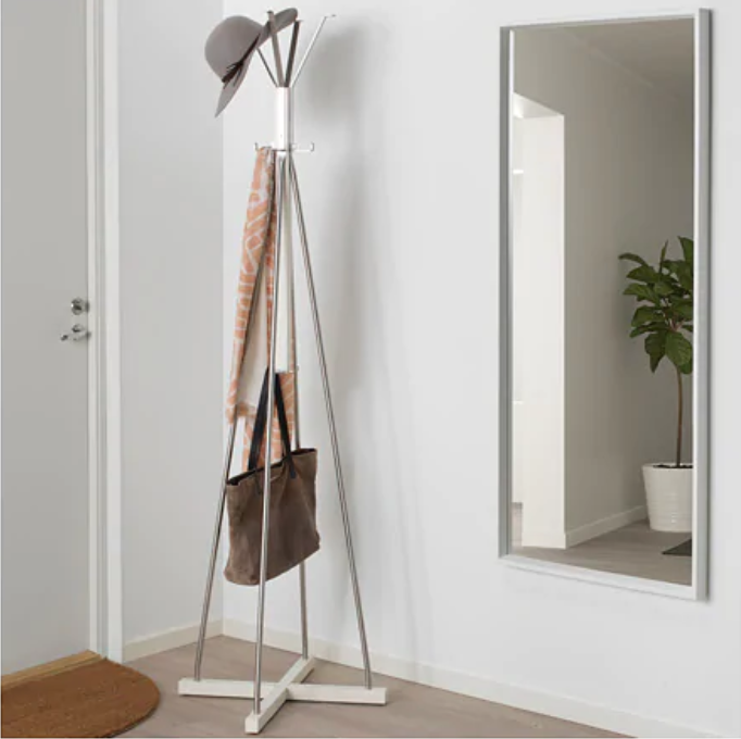 IKEA Tsusig Hat & Coat Stand - Normally you would think of a coat rack at the front door, but it works just as well repurposed for the bedroom.