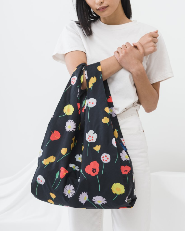 Baggu Reusable Bag - I love these bags. They fold up into tiny squares that fit in your smaller bag so you can have one with you at all times. And the prints are so cute, I'm always tempted to buy more.