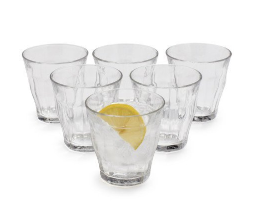 Duralex Picardie Glasses - These classic French glasses are near impossible to break. The smaller size is great for wine or even whiskey and the larger size is perfect for water. These are the only glasses I own.