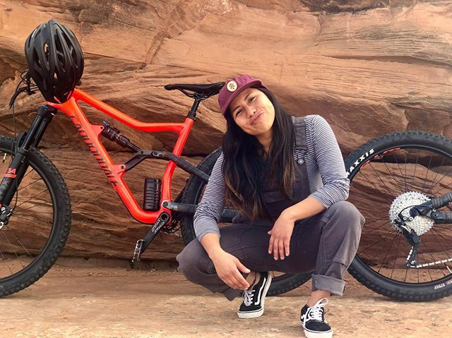 "NatureChola becomes a MountainBikeChola. #bicichola 🚴🏾‍♀️ . My mom never learned to ride a bike, she would watch excitedly cheering me on from the sidewalk as my feet would both leave the ground for just a few seconds .. I would peddle as fast as I could only to fall a couple feet later.. when I would ask her what her favorite memory of me was she would always go back to that...The determination I would have when I was teaching myself and how I would come back in, just as the streetlights would start illuminating the streets.... shins full of purple bruises and the biggest toothy smile on spread across my face. . Today as I zipped through the sandstone, wind in my face, teeth chattering, cold sweat puddling up on my back.. . My mom came to mind and I thought about how we often refer to the phrase ""I am my ancestors wildest dreams"" in monumental moments but today on my bike it hit me, I belong to the first generation of women in my family that know how to ride a bike.. And I definitely won't be the last.  #naturechola #diversifytheoutdoors #vivasnosqueremos #bicichola"