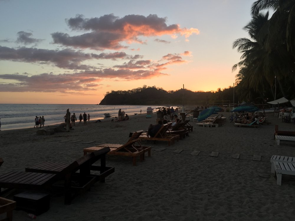 Sunset at Samara beach after a day of kayaking and snorkeling