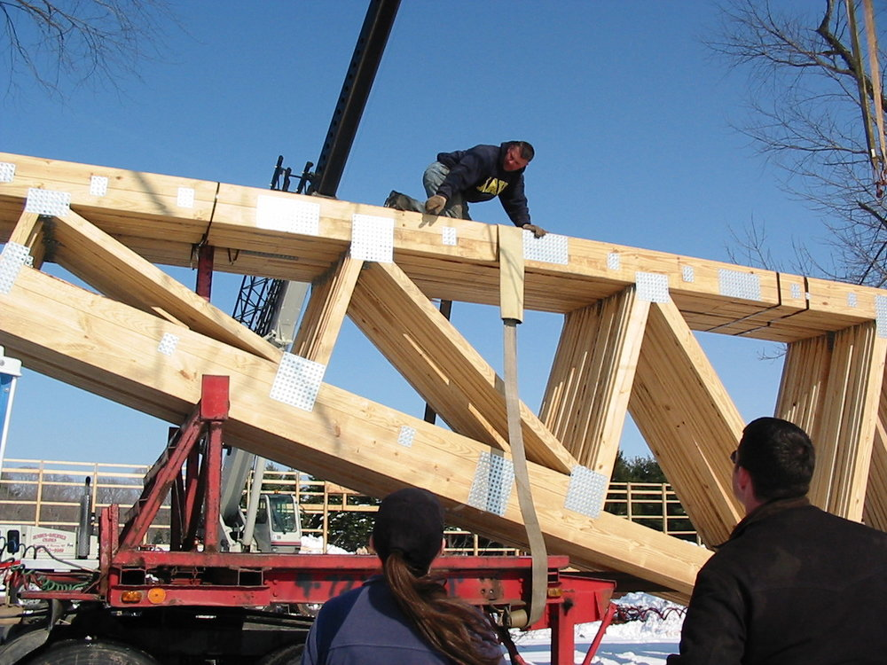 Yup -that Brent and I looking on as the trusses were being off loaded.