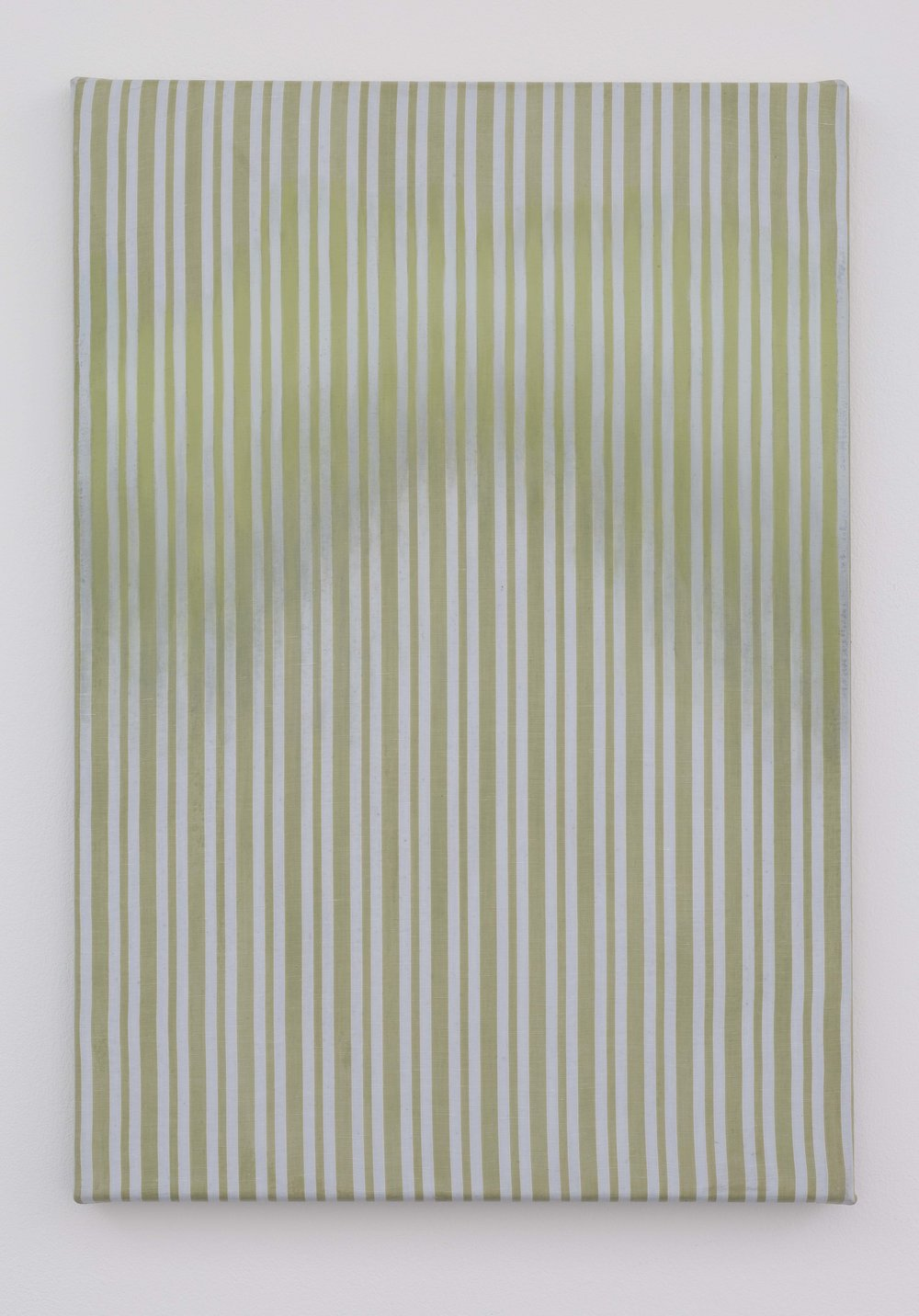 Across, Down   Oil and acrylic on striped polycotton  55 x 40cm  2017