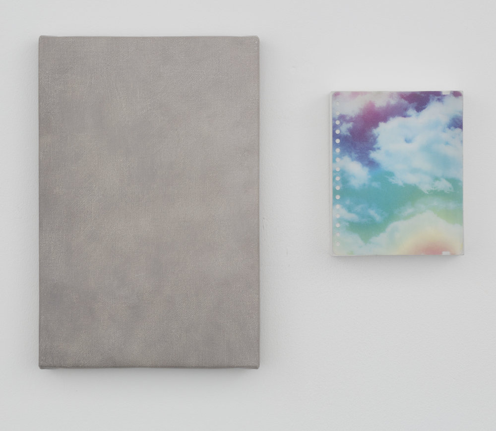 List Of Lists   2 Parts: Oil on canvas; Plastic notebook cover  and acrylic on panel  31 x 21cm, 15 x 12cm  2017