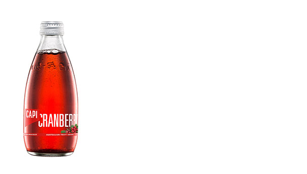 Cranberry  Our Cranberry fruit soda is 100% natural and the colour stems from the cranberries themselves. No colour is added, just the juice of the fruit. Clean and light with a tart, true cranberry finish.   250ml  24 loose or 6x4pk  750ml  12 loose