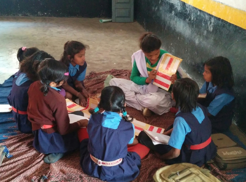 A pre-service teacher teaches a class in Chhattisgarh.