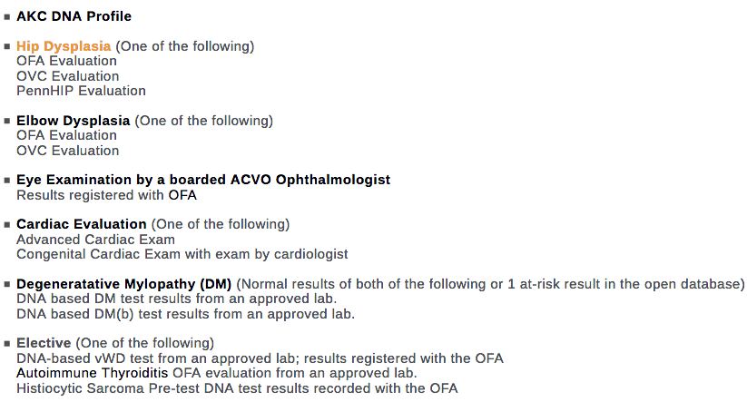 Recommended Health Screenings for Bernese Mountain Dogs.  Source: https://www.ofa.org/recommended-tests?breed=BMD&var=