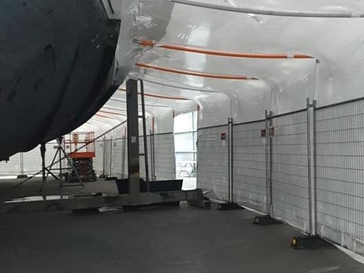 Internal Shot of Vessel Encapsulation in Super Yacht Shed
