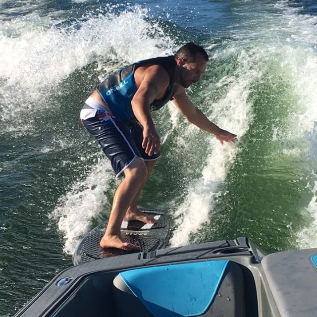 Congratulations to Doug Broome for catching your first wave.  Also we had a first timer getting up on the water.  Great job @jeffrenner_dg @dougie_83  @heydaywakeboats #tablerocklake #missouriwakeboarding #wtsurf #thewakecamp