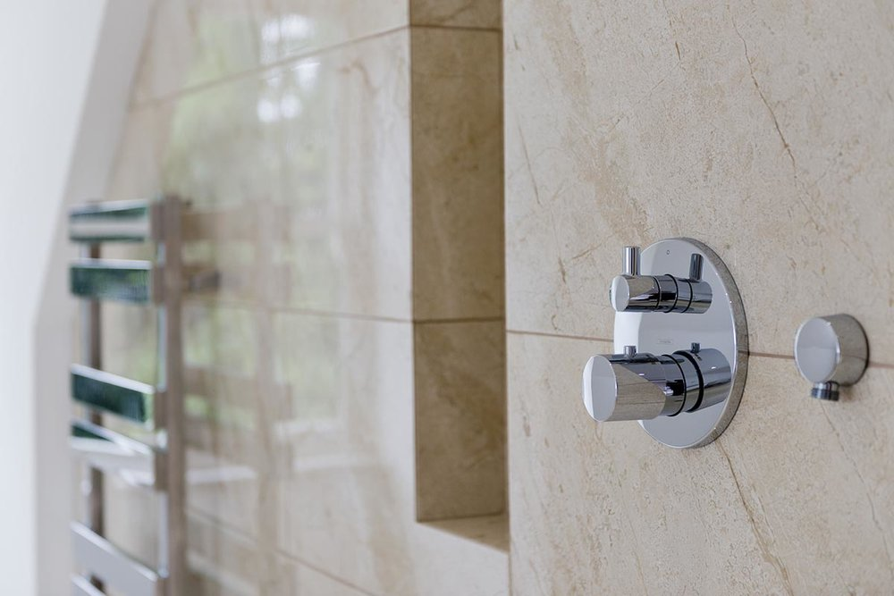 Deepdale towel rail and shower controls