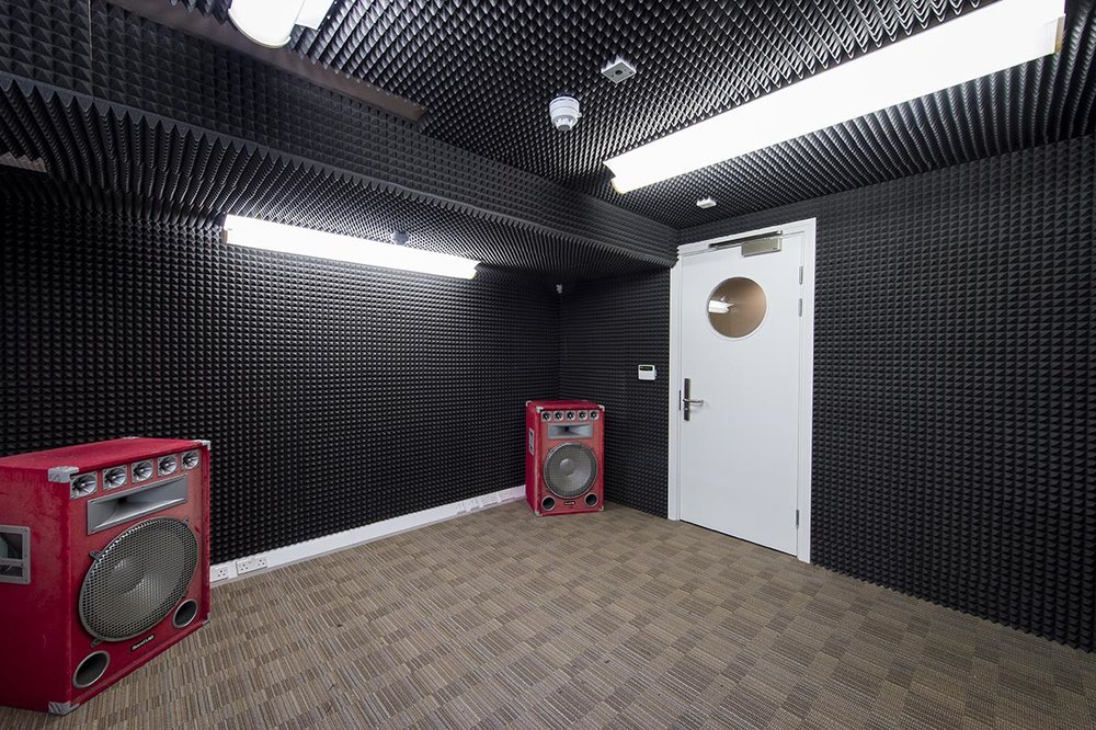Mildmay House Liverpool room with red speakers