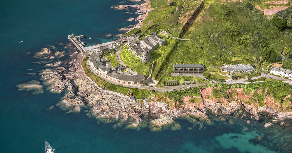 Fort Bovisand areal view of the planned development