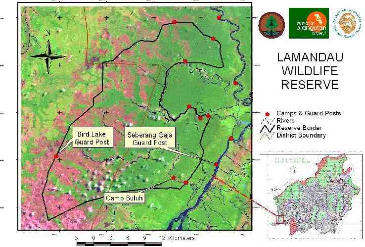 Map Lamandau Wildlife Reserve -Bird Lake Post