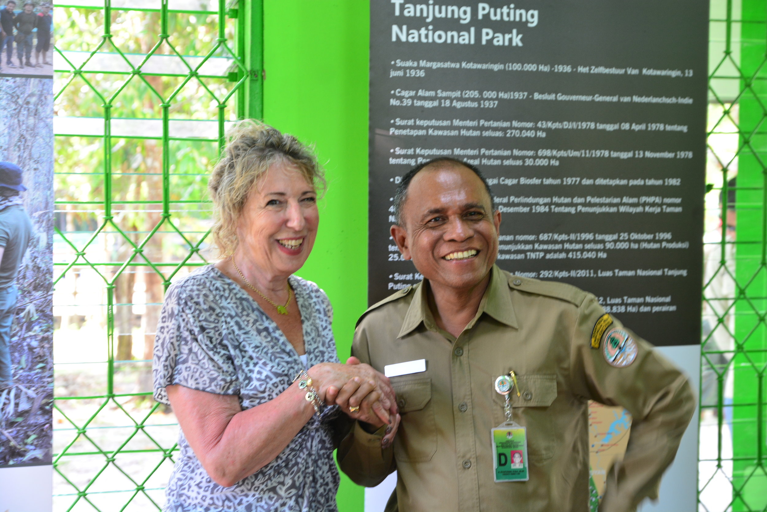 Orangutan Foundation Director Ashley Leiman with the administrative head of Tanjung Puting National Park.
