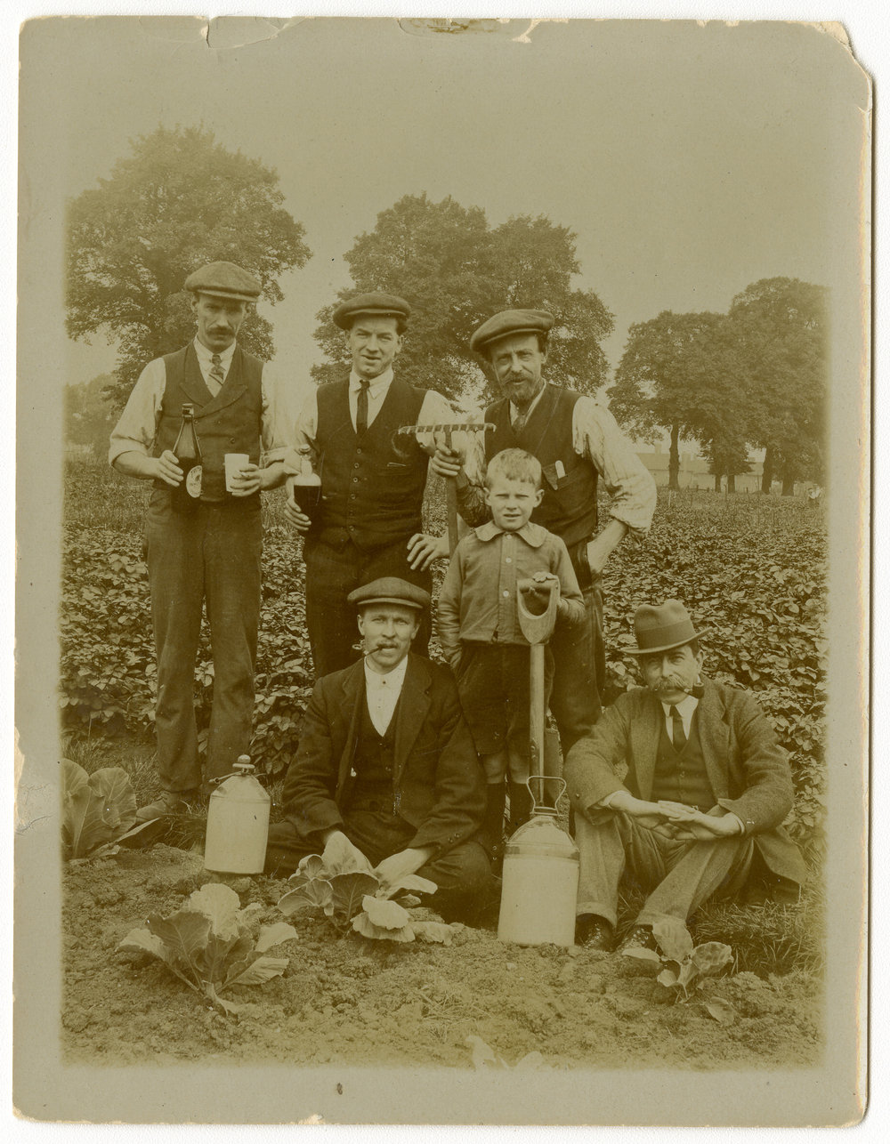 Kegs of beer and garden tools in hand, five men and a young boy pose in plot of growing vegetables – about 1918