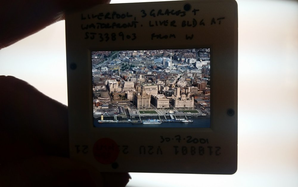 35mm film slide showing the 3 graces along the Liverpool waterfront.