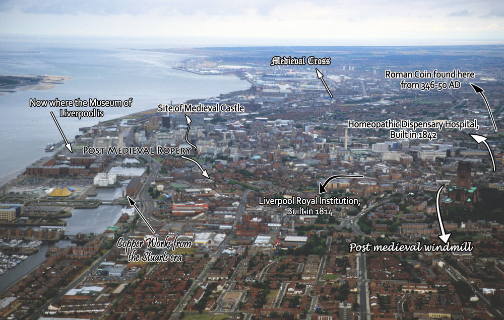 Aerial Photograph of Liverpool City Center with historical facts pointed out.