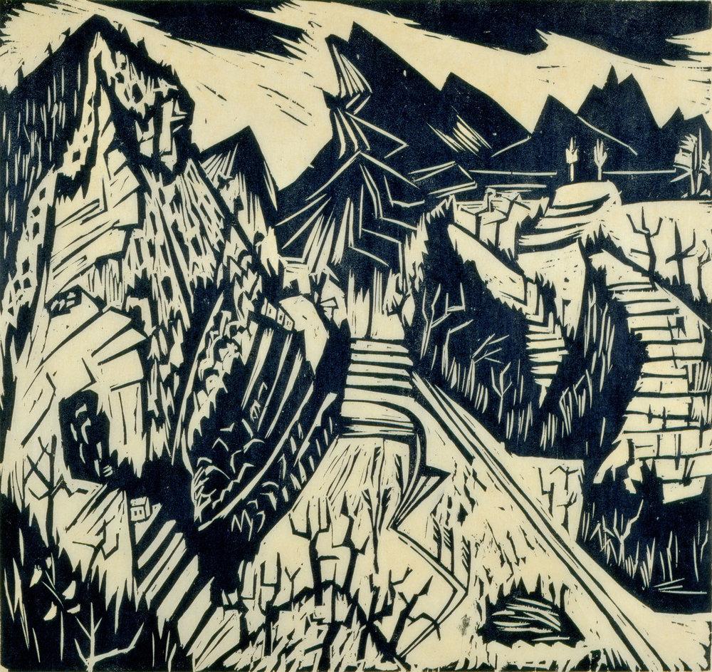 Hermann Scherer   Landschaft (Paesaggio),  1925 ca. Silografia su carta giapponese 550 x 515 mm Donazione Karlheinz Scherer 1995