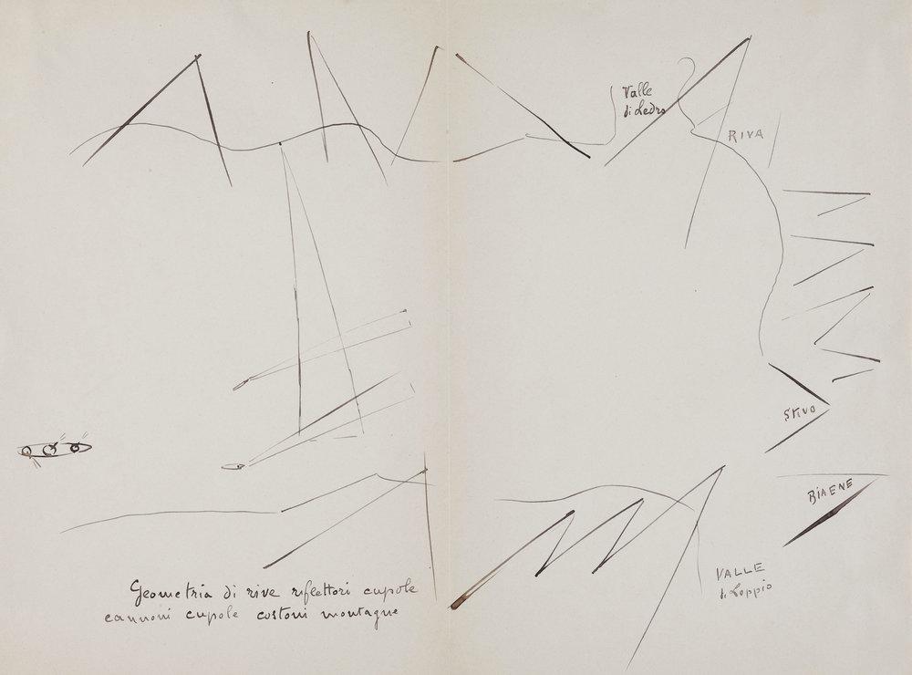 Filippo Tommaso Marinetti  Senza titolo , 1915 Penna e inchiostro nero su carta 310x420mm Acquisto 2004