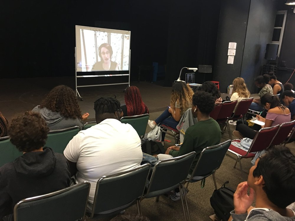 """IA"" class during Skype Interview with Playwright, Lindsay Price, who has written over 200 plays, including   darklight,   the play which IA students are currently rehearsing for our health department."