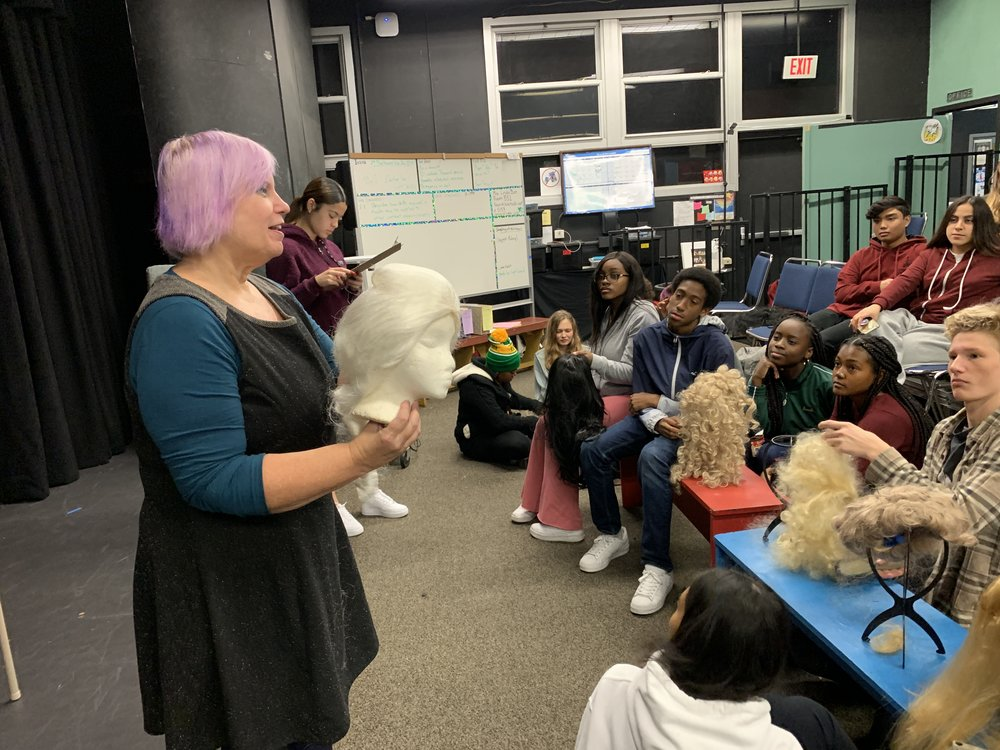Wig Master Melyssa Swenson teaches a guest workshop on wig design in preparation for the Addams Family Musical.