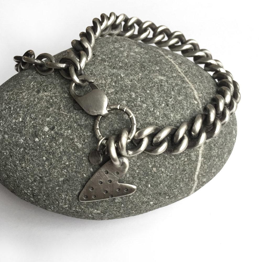 sterling silver hand cut heart charm bracelet