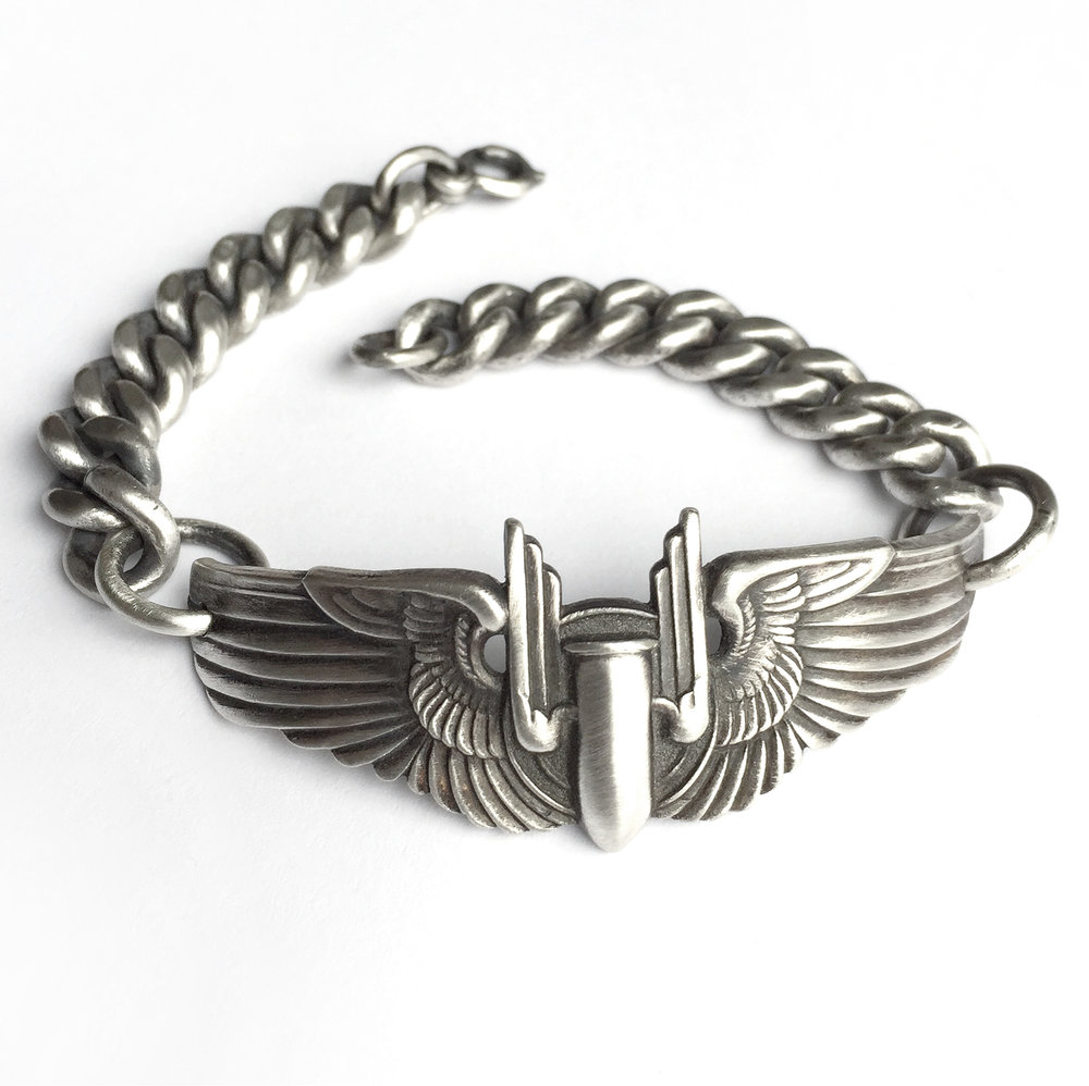 vintage army airforce world war 2 pilot wing bracelet