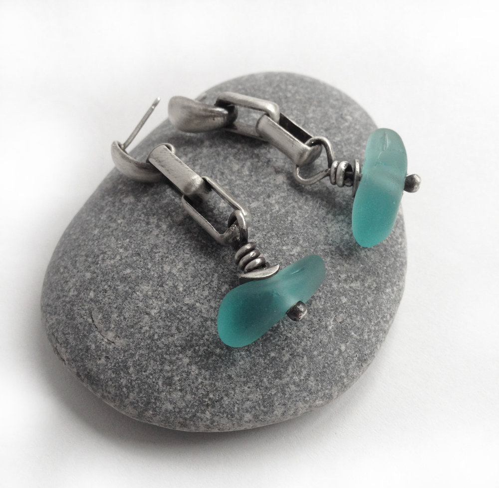 aqua seaglass sterling silver chain earrings