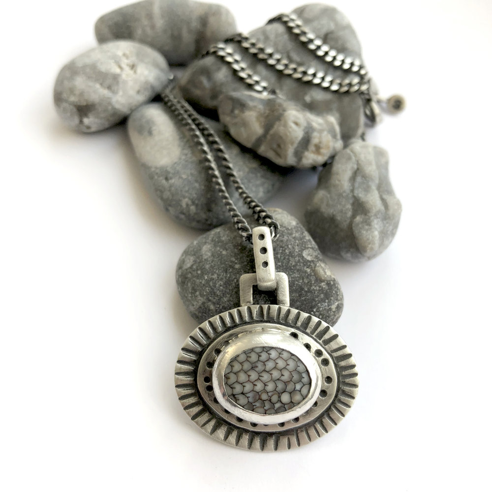 snakeskin stone bezel set sterling necklace