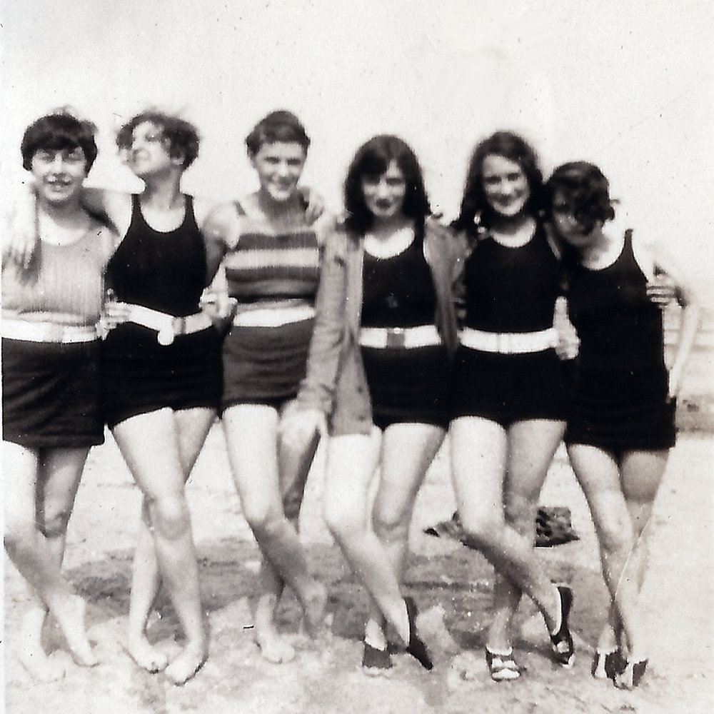 great aunt lois (second from left) and friends at the cedar point beach circa 1926