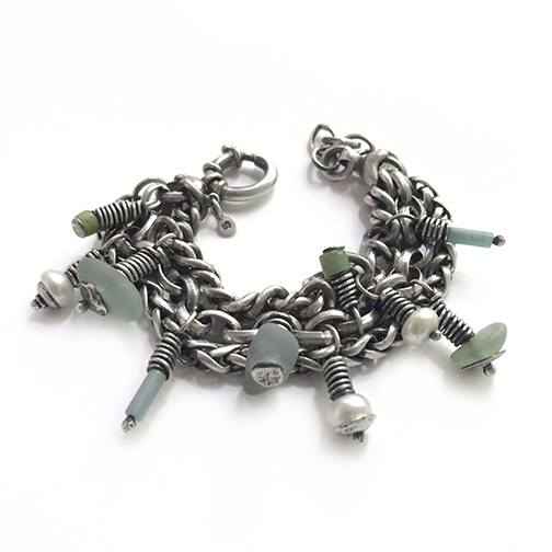 amazonite pearl aqua sterling silver chain bracelet