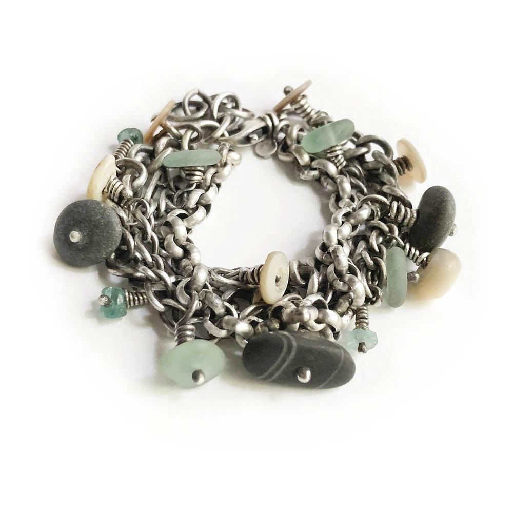 multichain stelring chain bracelet buttons stones