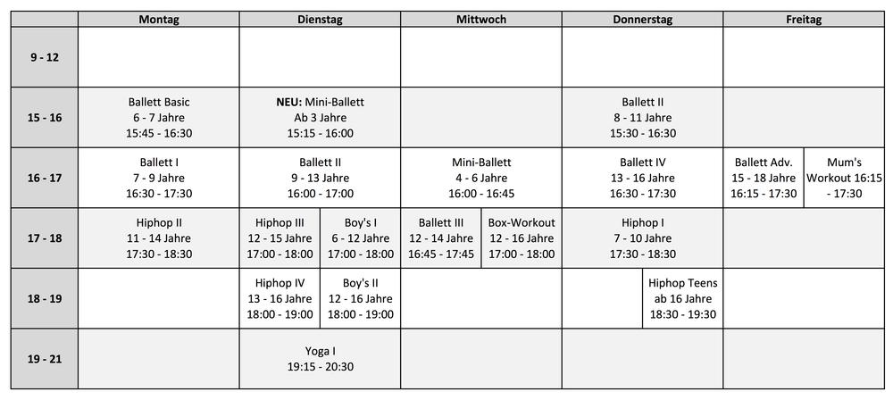 Class Schedule 2019 Cuatro-C Tanzstudio München   Dance Studio Munich