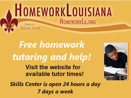Homework Louisiana - HomeworkLouisiana offers free online tutoring and academic resources from Tutor.com for Louisiana residents from kindergarten students through adult learners. Get help in math, science, social studies or English from a live tutor. This resource is available Sunday through Thursday, from 2pm to Midnight. Mobile app available.