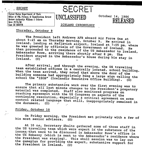 Unclassified secret documents from the Reykjavik Summit, 1986