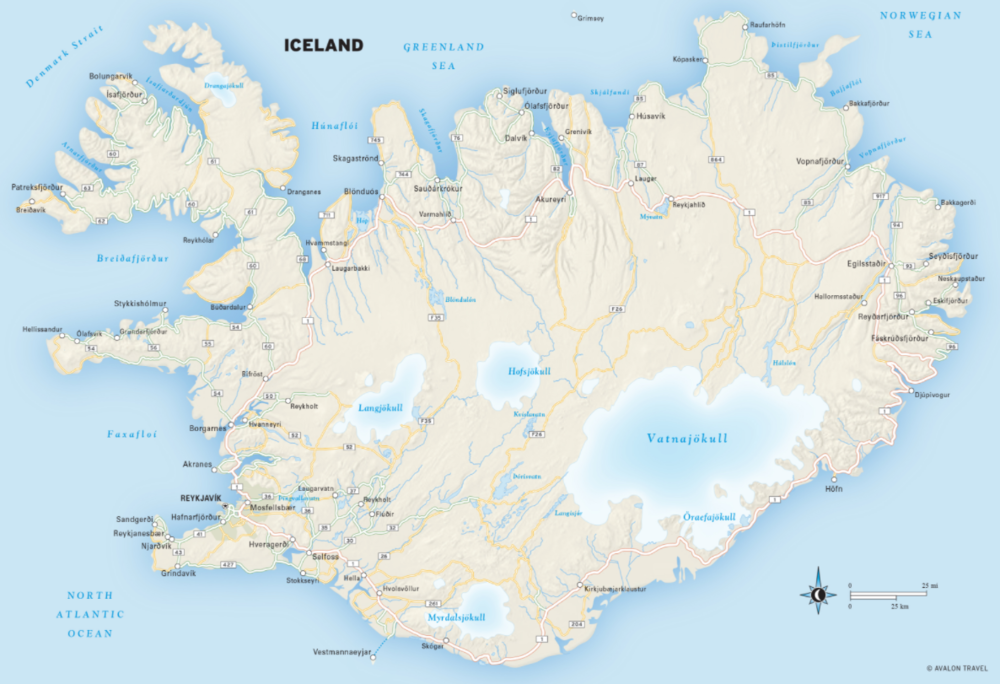 A map of Iceland