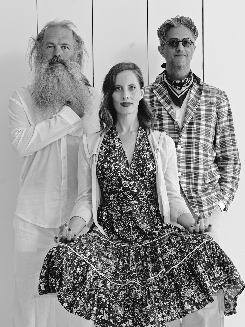 Rick Rubin (left) pictured with author Liz Goldwyn and photographer Max Vadukul