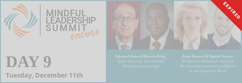 Day 9 - Encore of 5th Mindful Leadership Summit Available Tuesday, December 11 7AM EST Expires Wednesday, December 12 7AM EST