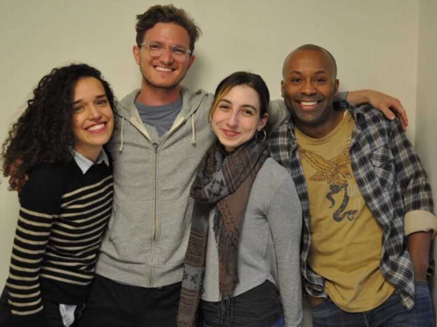 """The cast of """"Lost/Not Found"""" (L-R): Mariette Strauss, Max Lebow, Jamie Saunders, Devin E. Haqq (not pictured: Andrew Manning)."""