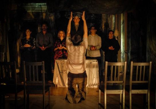 Laura Fois, Miguel Reis, Tracie Higgins,Carl Pasbjerg, Jared Reinmuth, Nikaury Rodriguez, Matt Higgins (back to audience) by Photo: Martha Granger