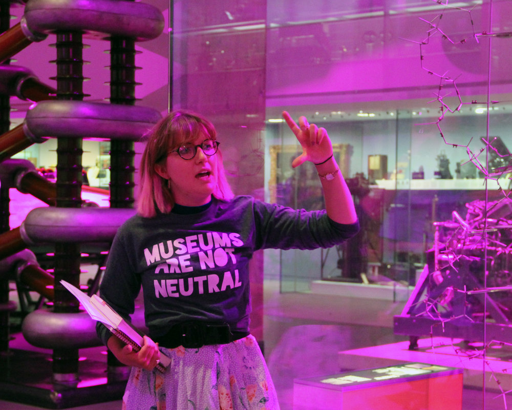 Ellie delivering 'Queering the Science Museum' (July 2018). Photo credit: Dan Vo