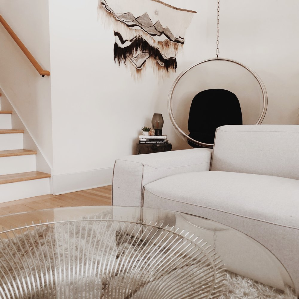 acrylic bubble chair, tree stump side table and chrome glass coffee table - overstock