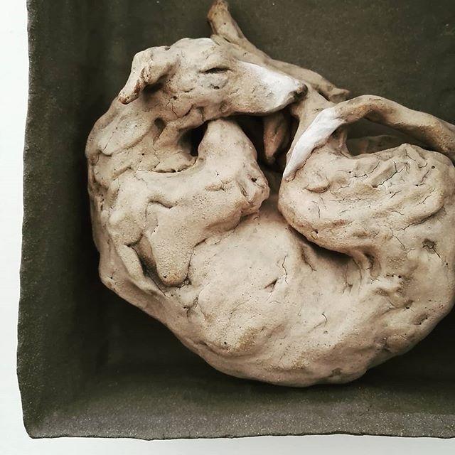 Hound in box . . #lurcher #lurcherlove #sighthound #animalbox #animalsculpture #mariekeringel #madeinmoretonhampstead #ceramicart #ceramicsculpture #ceramique