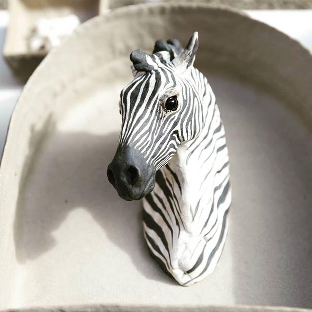 Zebra portrait in box . . . #ceramicsculpture #animalsculpture #wildlifeart #wildlife #ceramicart #contemporaryart