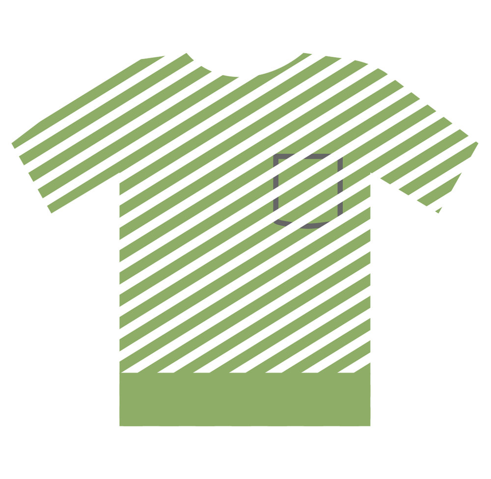 Partial shirt showing that only 15% of used textiles are recycled.