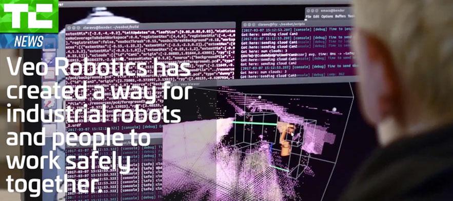 Veo Robotics cofounders Scott Denenberg, Clara Vu, and Patrick Sobalvarro