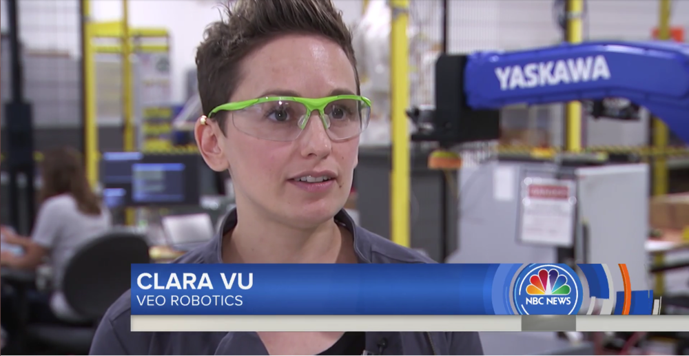 Clara Vu appearing on NBC Today series,  Iron Giants: Inside the World of Robots